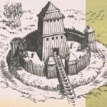 El primitivo castillo constaba de un torreón de madera rodeado por una empalizada y un foso.