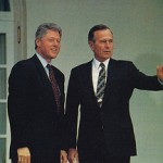 Los ex presidentes Clinton y Bush que coincidieron en el relevo de la Casa Blanca eran zurdos.
