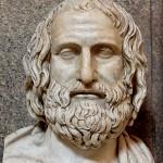 Busto de Eurípides. Mármol, copia romana de un original griego.