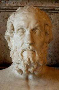 Busto de Homero. Mármol, copia romana de un original helenístico del siglo II a. de C.