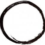 Un círculo en forma de cero trazado por un budista zen simboliza la totalidad del universo como el vacío último.