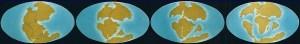 De izquierda a derecha evolución de la corteza terrestre: La Tierra hace 200 millones de años, 180 millones de años, 135 millones de años, y hace 65 millones de años.