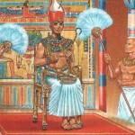 Ilustración de un faraón portando la Doble Corona.