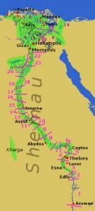 Nomos (subdivisiones territoriales) del antiguo Egipto.
