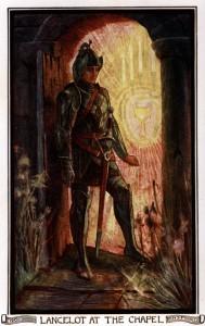 Representación de sir Lancelot en la capilla (por Amy Thewamy).