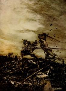 Cómo Mordred fue muerto por Arturo, y cómo aquel consiguió herir fatalmente a Arturo (por Arthur Rackham).