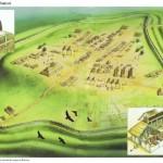 Representación del castillo de Cadbury, fortaleza prerromana remodelada tras la retirada de las tropas del Imperio de Britania.