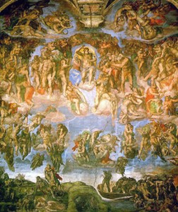 El Juicio Final (Capilla Sixtina), de Miguel Ángel (1475-1564), es un enorme conjunto pictórico al fresco extraído del Apocalipsis de san Juan.