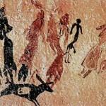 Danza en las Cuevas de El Cogul (Lérida, España). En esta pintura rupestre varias mujeres danzan alrededor de un hombre desnudo. Los ritos asociados con danzas y ritmos repetitivos eran habituales en casi todas las culturas prehistóricas.