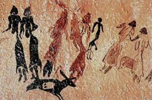 Pintura rupestre. Danza en las Cuevas de El Cogul (Lérida, España). Los ritos asociados con danzas y ritmos repetitivos eran habituales en casi todas las culturas prehistóricas.