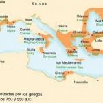 Colonizaciones griegas en el Mediterráneo.