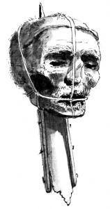 Un dibujo de época de la cabeza de Oliver Cromwell (1599-1658) en un pico.