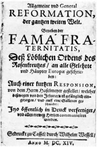 Primera página de la Fama Fraternitatis Rosae Crucis, 1614.