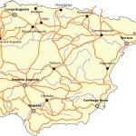 Principales calzadas romanas de Hispania, recogidas en el Itinerario de Antonino.