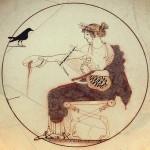 Apolo con una lira representado en un kílix (copa ancha y poco profunda con dos asas simétricas) del siglo V a. de C.