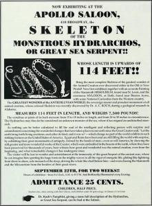 Cartel anunciador del espectáculo de 1845 en Nueva York de A. Koch.