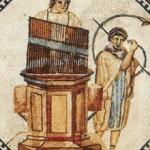 El hydraulis (s. III a. de C.) es un antiguo instrumento musical de viento que funcionaba con un sistema de receptáculos llenos de agua para mantener constante la presión del aire.