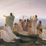 Pitagóricos celebrando el amanecer. Óleo de Fyodor Bronnikov (1827-1902).