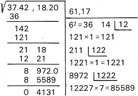 Cómo resolver una raíz cuadrada con decimales (tomando como ejemplo el número 3742,182).