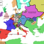 Mapa de Europa en 1648 al final de la Guerra de los Treinta Años. (La zona gris representa a los pequeños estados alemanes incluidos en el Sacro Imperio Romano Germánico.)