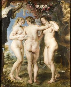 Las tres Gracias (Rubens). Pintado al óleo sobre tabla, mide 221 cm de alto por 181 cm de ancho.