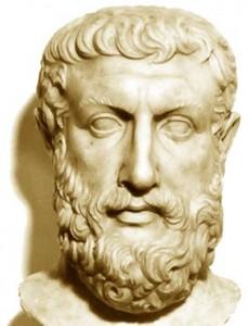 Parménides nace en Elea hacia el siglo V a. de C. Parece haber recibido influencias de Jenófanes y los pitagóricos.