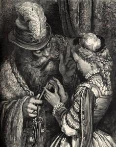 Barba Azul en una litografía de Gustave Doré.