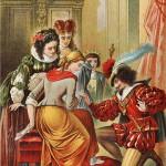 Ilustración de Carl Offterdinger (1829-1889): la joven sirvienta se calza el zapato perdido ante la atónita mirada de sus hermanastras.