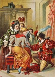 Ilustración de Carl Offterdinger (1829-1889) de la Cenicienta: la joven sirvienta se calza el zapato perdido ante la atónita mirada de sus hermanastras.
