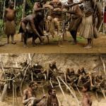 """El pueblo angu -también llamado kukukuku- es uno de los grupos étnicos más conocidos de Papúa Nueva Guinea. Los familiares honran a sus difuntos momificándolos y velándolos durante meses. Cuando el proceso acaba no los entierran, llevan la momia a un panteón familiar, generalmente una cornisa en un acantilado rocoso en lo alto de las montañas: """"Si la tierra probara los fluidos del muerto, luego pediría más y este sería un lugar sediento de sangre que reclamaría constantemente nuestras vidas"""", explican. Los indígenas acuden para pedirles consejo y protección."""