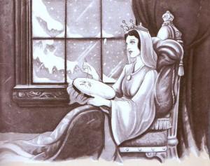 La reina cosía junto a una ventana. Caían los copos de nieve. Mirando caer la nieve la reina se pinchó un dedo...