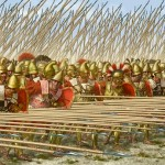 A la falange macedonia en el mundo griego se la consideraba un sistema de combate invencible hasta las derrotas de Cinoscéfalos (197 a. C.) pero, especialmente, Pidna.