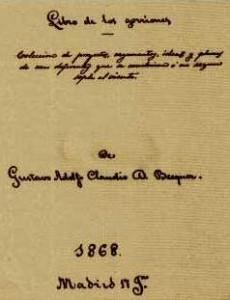 Portada del autógrafo 'Libro de los gorriones' (Madrid, 1868).