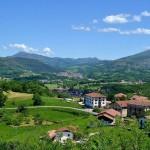 Valle de Baztán, Pirineo occidental español: se observa a la derecha la típica arboleda o campos cerrados.