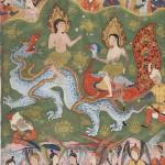Adán y Eva rodeados de ángeles en una miniatura persa de hacia 1550.