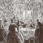 Grabado del s. XIX donde los invitados se consternan mientras Cazotte predice sus fatales destinos.