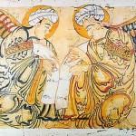 Dos ángeles pintados por al-Wasiti (1280). Miniatura del libro de las maravillas de la creación de al-Qazwini.