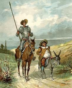 Representación de don Quijote y Sancho Panza.
