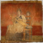 Mujer romana tocando una cítara. Fresco del siglo I a. de C. hallado en Villa Boscoreale (sur de Italia).
