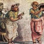 Trío de músicos tocando un aulós, cymbala y tympanum (mosaico de Pompeya).