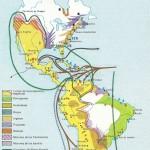 El mapa nos muestra los diferentes territorios europeos en América, así como los fundamentales productos coloniales. Obsérvese cómo en función del Tratado de Tordesillas y de la disposición de los imperios indígenas, la colonización española se enfocó hacia el Pacífico.