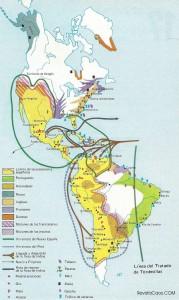 El mapa nos muestra los diferentes territorios europeos en América, así como los fundamentales productos coloniales.