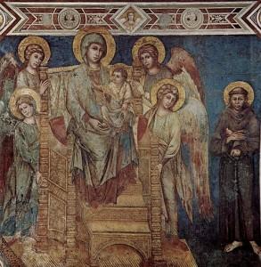 Obra de Cimabue, hacia 1280, pintura al fresco ejecutada en la basílica inferior de Asís.