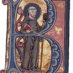 Inicial de la letra B en un manuscrito del siglo XIII.