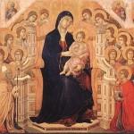 Maestà de la catedral de Siena, realizada por Duccio di Buoninsegna, una de las obras más famosas de la pintura italiana; temple sobre madera, 214 x 412 cm, se exhibe en el Museo dell'Opera Metropolitana del Duomo de Siena.