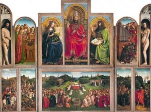 El retablo La adoración del cordero místico es un políptico de doce tablas al óleo realizado por los hermanos Van Eyck que marca la transición de la pintura gótica a la del Renacimiento.