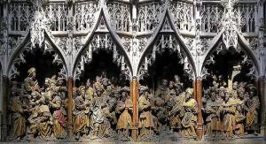 Retablo, típica talla en madera del siglo XV, conservado en la catedral de Amiens, Francia.