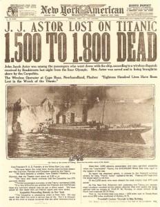Información del New York American sobre el balance de fallecidos en el hundimiento del Titanic.