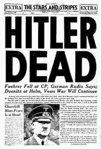 Portada del diario militar norteamericano The Stars and Stripes, con la noticia de la muerte de Hitler, el 3 de mayo de 1945.