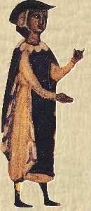 Bernart de Ventadorn (en un dibujo medieval) fue un popular trovador, compositor y poeta provenzal.